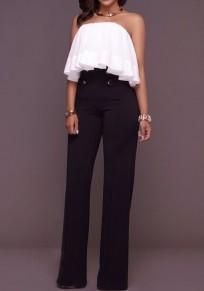Black Patchwork Buttons Zipper High Waisted Wide Leg Palazzo Pants