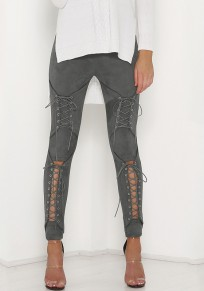 Grey Patchwork Cut Out Lace-up Elastic Waist Slim Long Pants