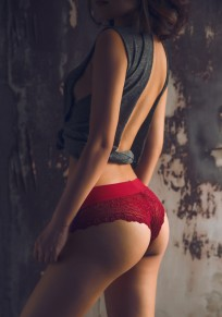 Wine Red Patchwork Lace Elastic Waist Fashion Shorts
