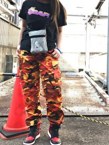 Orange Camouflage Print Pockets Buttons Camo High Waisted Long Cargo Pants