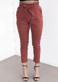 Pantalones fajas encaje arqueado la moda de alta cintura rojo