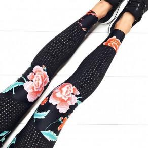 Pantalons longues imprimés floraux élastiques décontractés noirs
