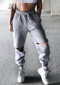 Pantalons longues poches découpées taille de cordon mode gris
