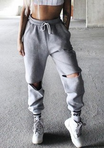 Grey Ripped Pockets Drawstring Waist Fashion Sport Jogger Long Sweat Pants