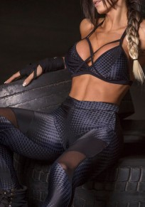Black Patchwork Grenadine Elastic Waist Sports Long Pants