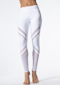 Weiß Patchwork Grenadine Elastische Taille Beiläufig Lange Hosen