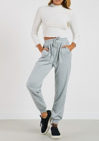 Grau Taschen Kordelzug Taille Bogen hoch tailliert Lange Hosen