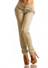 Khaki Buttons Elastic Waist High Waisted Casual Long Pants