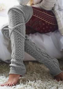 Leggings géométrique crochet tricoté jambières boot chaussettes femme socks gris clair