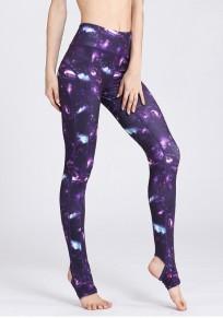 Pantalones vaqueros largos impresión galaxia elástico cintura baja yoga deportivo púrpura