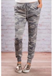 Pantaloni lunghi coulisse elastico casuale grigio camuffamento