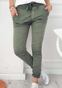 Pantalons plaines poches à cordon taille normale décontracté vert