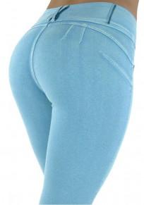 HellBlau Knöpfe Taschen elastische Taille beiläufige lange Hosen