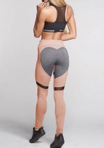 Leggings coeur forme push up taille haute fitness yoga mode rose et gris femme