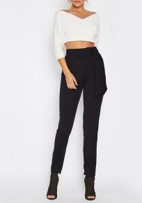 Pantalons crayon ceinture haute cintrée décontracté femme noir