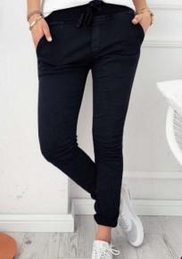 Schwarz Tunnelzug Taschen High Waisted Damen Mode Skinny Slim Stretch Hose Stoffhose Damen