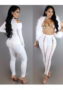 Pantalones largos corte cordones cruzados de talle alto blanco