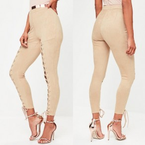 Khaki Drawstring Lace-Up High Waisted Fashion Dacron Long Pants