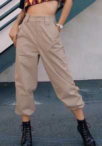Khaki Pockets Zipper High Waisted Casual Long Cargo Pants