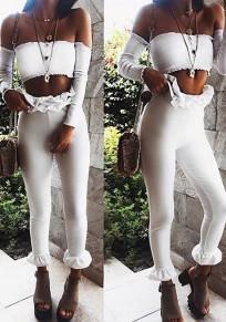 Weiß Rüschen High Waist Elastische Taille Mode Damen Skinny Röhre Nine's Hose