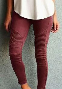 WeinRot Rüschen elastische Taille beiläufige lange Hosen