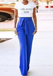 Royal Blue Zipper Pockets Sashes High Waisted Wide Leg Long Pants