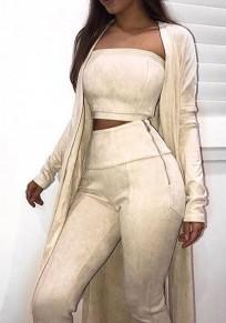 Pantalones largos cremallera elástico ante de moda albaricoque