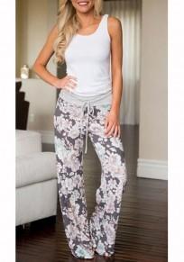 Pantalon long imprimé fleuri taille haute taille haute palazzo gris