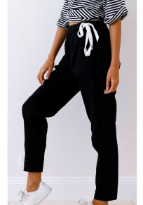 Pantalon long poches à cordon de serrage taille normale décontracté noir