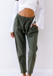 Pantalones largos bolsillos cordón cintura suelta normal casuales verde militar