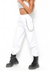 Pantalon long uni poches fermeture éclairs en chaîne taille haute décontracté blanc