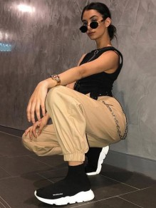 Khaki Chain Zipper Pockets High Waisted Casual Long Cargo Pants