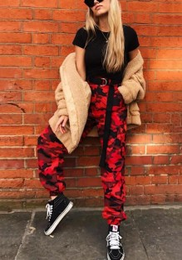Pantalons longue baggy camouflage avec poches style militaire décontracté femme rouge