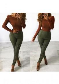 Pantalones largos corte con cordones cintura alta verde