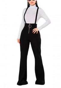 Pantalon long uni fermeture éclair bandoulière taille haute décontracté noir