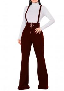Pantalon long uni fermeture éclair taille haute occasionnel rouge lie de vin