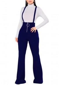 Pantalones largos lisos con cremallera en el hombro cintura alta casuales azul