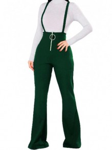 Army Green Plain Shoulder-Strap Zipper High Waisted Casual Suspender Jumpsuits Long Bell Bottom Pants