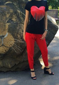Pantalones largos lisos bolsillos cordón elástico casuales rojo