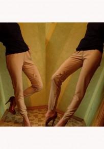 Pantalones largos lisos bolsillos cordón elástico casuales caqui