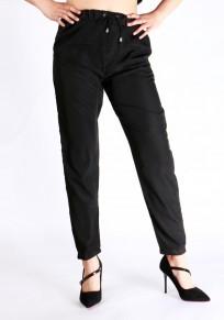 Pantalones largos lisos bolsillos cordón elástico casuales negro