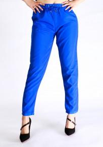 Pantalon long uni poches à cordon élastique décontracté bleu