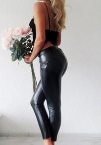 Sexy maigre faux cuir leggings push up slim jeggings pantalons noir femme