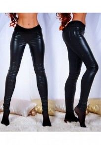 Black PU Leather Low-rise Fashion Bodycon Long Pants