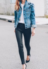 Pantalons longue crayon en simili cuir culotte haute slim femme mode noir