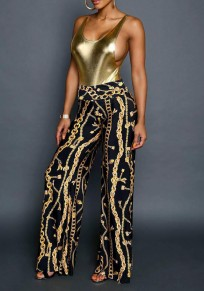 Black Chain Print Loose High Waisted Wide Leg Fashion Boho Pants