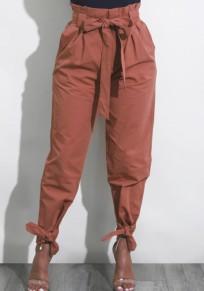 Harem pantalons taille haute avec noeud ceinture décontracté femme marron