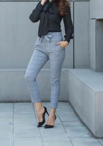 Pantalons à carreaux avec noeud papillon taille élastique haute élégant slim femme gris