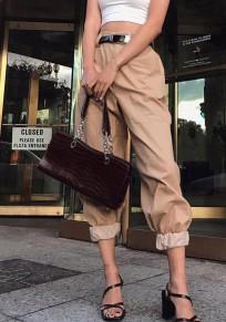 Khaki Pockets High Waist Long Cargo Pants