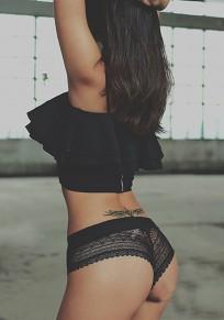Black Patchwork Animal Print Elastic Waist Lace Shorts